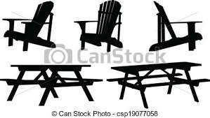 Outdoor Furniture Silhouette Set Of Picnic Tables