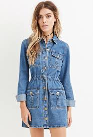 forever 21 buttoned denim dress in blue lyst