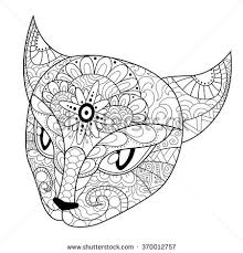Coloring Book For Adults Page Cats Head With Different Ornaments Hand Drawn