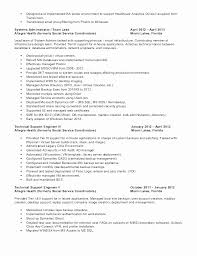 Sample Resume Tech Support Engineer Fresh Technical