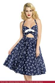 50 u0027s inspired full swing skirt pin up dress in navy anchor