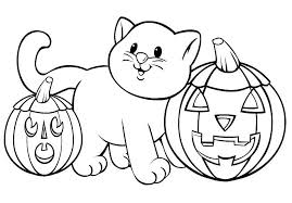 Cat With Pumpkin Halloween Coloring Pages