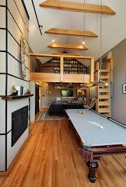 Loft Style Family Room Industrial With Gray Felt Pool Table Rustic