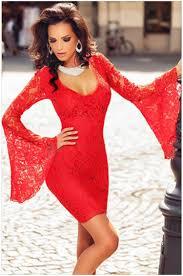 2016 elegant women v neck red lace winter dress autumn