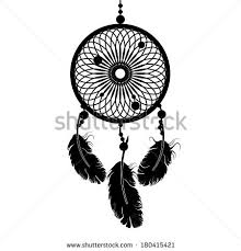 Dream Catcher Silhouette In Black Color Isolated On White Background Vector Illustration