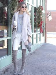 Winter White And Gray Outfit With Over The Knee Boots Statement Necklace