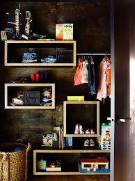 wooden shelves and clothes rail closet contemporary with wall