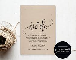 We Do Wedding Invitation Template Rustic Kraft Cheap DIY Printable PDF Instant Download BPB203 1