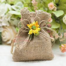 60pcs Lot Drawable Jute Hessian Burlap Candy Bags Vintage Chic Wedding Pouch Rustic
