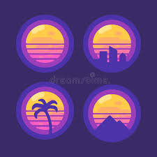 Download Set Of Retro 80 Synthwave Music Flat Icons New Wave Stock Vector