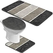 badgarnitur 3 teilig badmatte bad set dunkelgrau grau stand wc