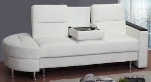 caddy pu leather klik klak sofa bed with storage folding tray