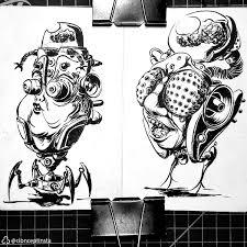 Heads 1 Pentel Brush On Paper ImaginaryMonsters