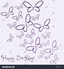 Purple hand drawn Happy Birthday butterfly card in vector format