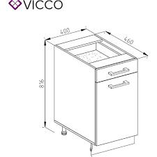 vicco schubunterschrank 40 cm küchenzeile unterschrank r line ohne arbeitsplatte rot hochglanz