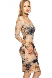 navy beige tie dye mock neck long sleeve bodycon casual dress