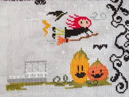 Frosted Pumpkin Stitchery Woodland Sampler by Fiberartsy Craftsy Wip Update