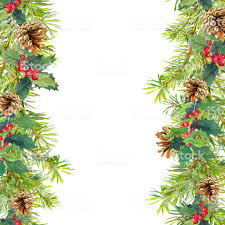 Christmas Tree Branches Mistletoe Seamless Frame Watercolor Royalty Free