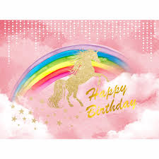 Allenjoy Photography Backdrops Pink Background Shiny Glitter Unicorn Rainbow Clouds Stars Backgrounds For Photo Studio In From Consumer