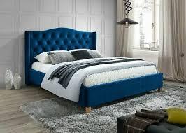 polsterbett doppelbett stoff samt blau 160x200 schlafzimmer bett luxuriös ebay