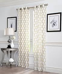 amazon com 2 piece geo flocked sheer grommet window curtain