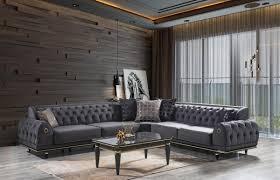 casa padrino luxus deco chesterfield wohnzimmer set grau schwarz gold 1 ecksofa mit kissen 1 couchtisch mit glasplatte edle wohnzimmer