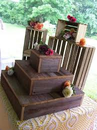 Rustic Cake Stands BUNDLE Crates Cupcake Stand Wedding Decorations Reception 3 Tier Wooden Barn