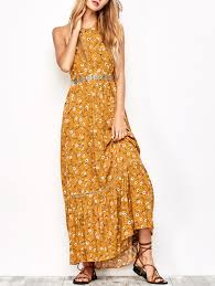 tiny floral maxi halter dress yellow ocher l in maxi dresses