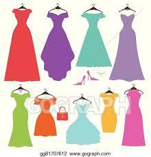 Silhouette Colorful Womens Dress SetFlat Design