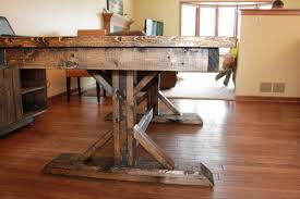 Double Pedestal Old And Vintage Distressed Farmhouse Dining Table Made From Reclaimed Wood For Small Room Spaces Ideas