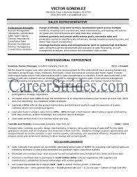 Sales Representative Resume Job Descriptions Full Page Victor Gonzalez