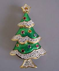 SWAROVSKI Christmas Tree Brooch In Green Enamel With Clear Rhinestone Snow And Colored Ornaments A Hand Polished Gold Plated Setting 2