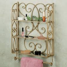 Oak Bathroom Wall Cabinet With Towel Bar by Brown Iron Carving Wall Cabinet With Shelves And Towel Bar On The