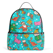 Amazoncom Blue Christmas Santa Claus Elk Snowman School Backpack