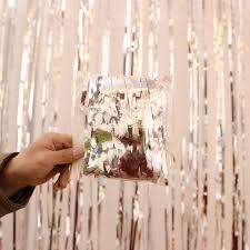 silver metallic foil fringe shimmer curtain backdrop for photo