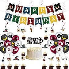 reyok harry potter geburtstag deko 32 stück zauberer inspiriert cupcake topper kuchen dekoration ballon happy birthday banner für