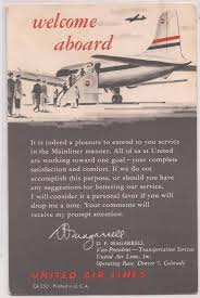 Vintage United Airlines Postcard Ad Card Welcome Aboard C1940s W