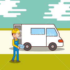 100 Truck Courier Delivery Service Courier Man Holding An Envelope And A Van Truck