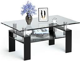 costway couchtisch aus glas wohnzimmertisch mit unterer ablage glastisch mit metallrahmen salontisch sofatisch clubtisch beistelltisch ablagetisch