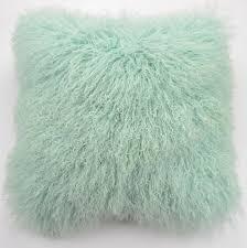 Tibetan Mongolian Lamb Fur Pillow Cover Mint Green 18