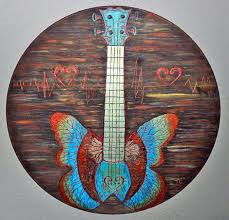 Guitar Painting Carved Wood Burning Butterfly Bass Metallic Acrylics Wall Art