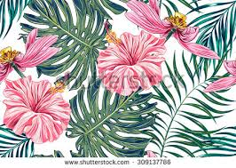 Tropical Flowers Palm Leaves Jungle Hibiscus Pink Lotus Seamless Vector