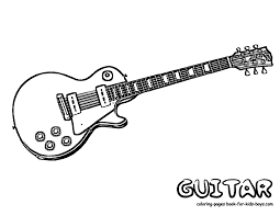 Guitar Coloring Page Grand Guitars Free Electric Sheets