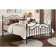 Vintage Style Queen Full Size Rustic Bed Frame Bedroom Furniture Brushed Bronze Brown Black Metal Wrought Iron Antique Headboard Footboard Included