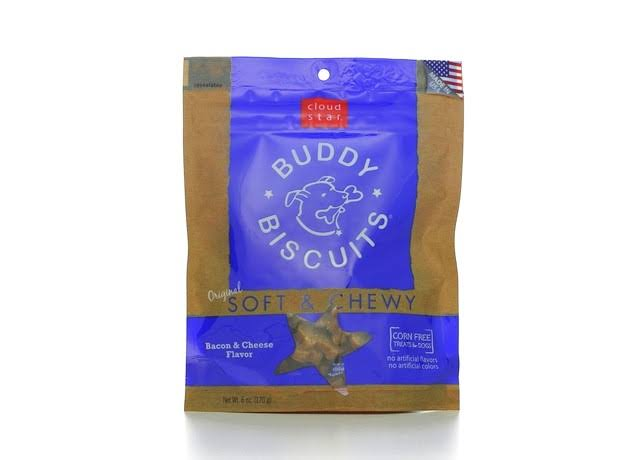 Cloud Star Buddy Biscuits Dog Treats Bacon & Cheese, Soft & Chewy - 6 oz pouch