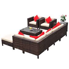 Outsunny Patio Furniture Instructions by Amazon Com Outsunny 9 Piece Outdoor Pe Rattan Wicker Sectional