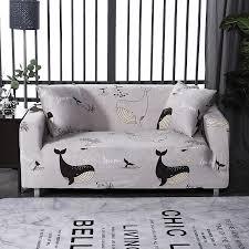 elastische sofa abdeckung nette karikatur delphin corgi muster schutzhülle sessel möbel abdeckung für wohnzimmer 1 2 3 4 seate