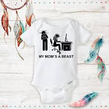Geeky Baby Onesie Mom Is A Beast Gaming Unisex Baby Gamer Mom Nerd Baby Awesome Geeky Onesie Baby Shower Gift Set New Baby