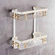 badezimmer regal raum aluminium weiß gold dusche shoo