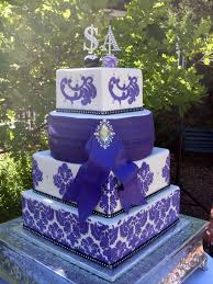 Royal Purple Stenciled and Blinged Wedding Cake